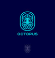 octopus emblem logo inscribed oval vector image vector image