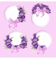 Pink labels with purple crocus vector image