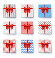 present boxes with red ribbon and big bow isolated vector image vector image