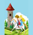 prince and princess riding a horse vector image vector image