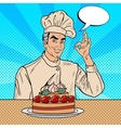 Professional Chef Cook Gesturing OK Pop Art vector image