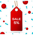 red pennant with an inscription big sale five vector image vector image
