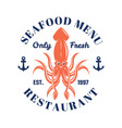 seafood menu emblem or badge with squid vector image vector image