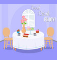 served table with desserts vector image