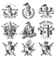 set monochrome knights emblems vector image