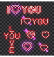 set of neon signs i love you vector image vector image