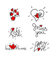 set of valentines day design elements vector image