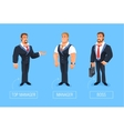 smiling businessman cartoon boss manager vector image