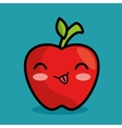 tasty kawaii apple fruit icon vector image