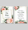 template for wedding invitation pink rose flowers vector image vector image