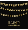 Valentines Day greeting card with gold garlands on vector image