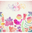 watercolor floral greeting card with Summer vector image vector image