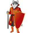 wolf with shield and sword vector image vector image