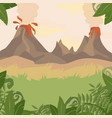 a forest landscape with volcano and jungle plants vector image
