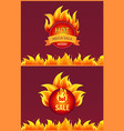 advertising icons in flame isolated labels vector image vector image