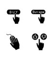 app buttons glyph icons set vector image vector image