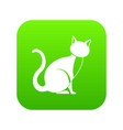 black cat icon digital green vector image