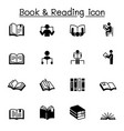 book reading icons set graphic design vector image vector image