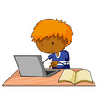 Boy and computer vector image vector image