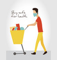 boy in mask and casual clothes shopping with a vector image vector image