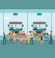 bus terminal with bus limousine with people vector image vector image