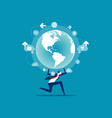 business person holding globe concept people and vector image vector image