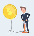 businessman blowing a balloon in the shape of a vector image vector image