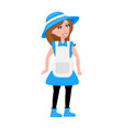 cartoon character woman in blue dress and hat vector image