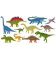 cartoon dinosaurs ankylosaurus brontosaurus vector image vector image