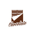chcollate bar in wrapper dessert icon vector image vector image
