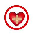 circular frame with heart band aid in cross form vector image