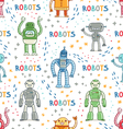 Colorful cartoon robots white background seamless vector image