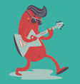 Crazy Sausage Playing Electric Guitar vector image
