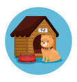 cute dog with wooden house and dish food vector image vector image