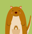 cute fat big kangaroo with baby vector image vector image