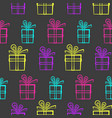 dark pattern with bright neon present boxes vector image