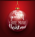 decorative christmas text on hanging bauble vector image vector image