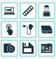digital icons set with man with laptop floppy vector image