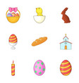easter celebration icons set cartoon style vector image vector image