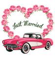 elegant wedding invitation with vintage pink car vector image vector image