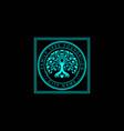 family tree life stamp seal emblem oak banyan vector image vector image