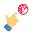 fingerprint security with finger person hand info vector image