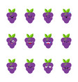 grape modern flat emoticon set vector image vector image