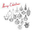 hand drawn of lovely christmas ornaments hanging o vector image vector image