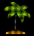 island tropic palm halftone icon vector image vector image