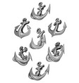 nautical heraldic icons of ship anchor vector image