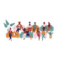 people sitting on sofas in waiting room hall vector image vector image
