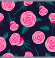 pink roses seamless pattern flowers leaves vector image