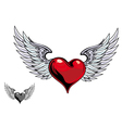 retro heart wings vector image vector image