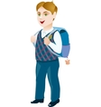 Schoolboy with backpack on a white background vector image